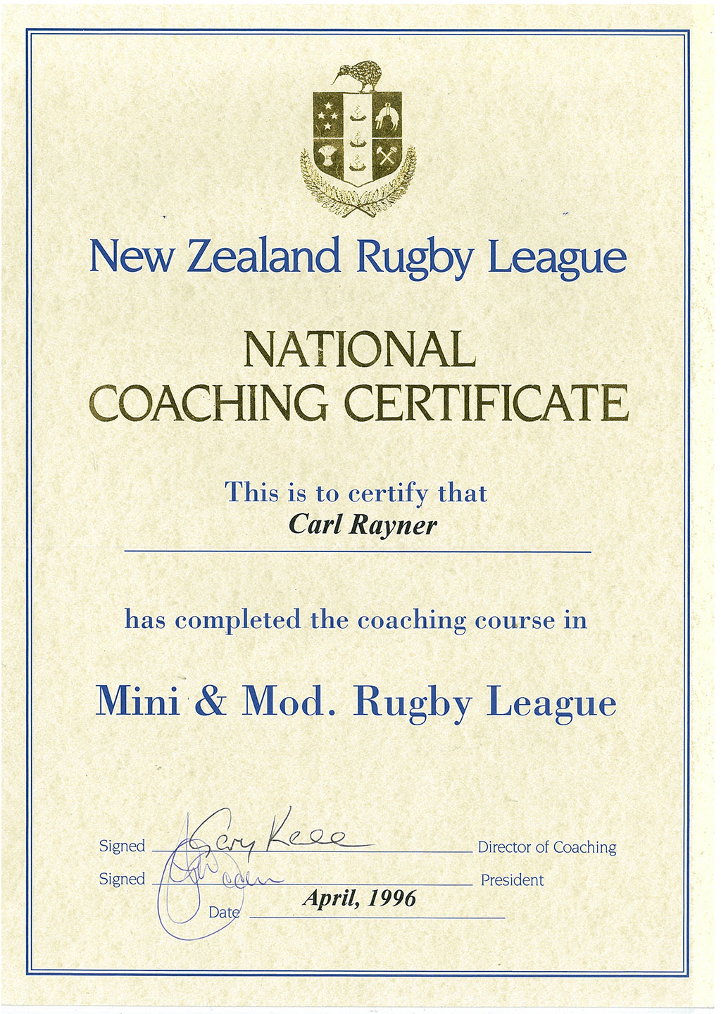 Carl rayner past present certificates rugby league coaching xflitez Choice Image